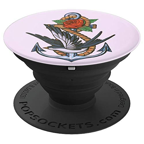 Vintage Lavender Rose Anchor Swallow Infinity Symbol  PopSockets Grip and Stand for Phones and Tablets