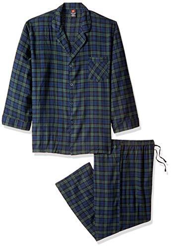 Hanes Men's Flannel Pajama Set, Forest Plaid, 4X Large