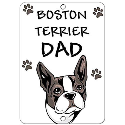 Stevenca Aluminum Metal Sign Boston Terrier Dog Dad Road Sign 8x12 INCH ()