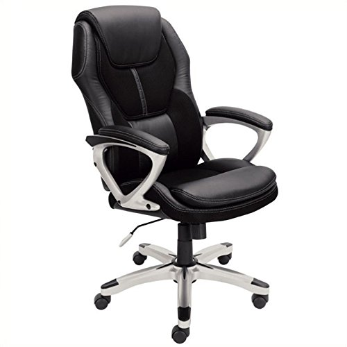 Leather Heights Chair Pacific (Serta Works Executive Office Chair, Faux Leather and Mesh, Black)