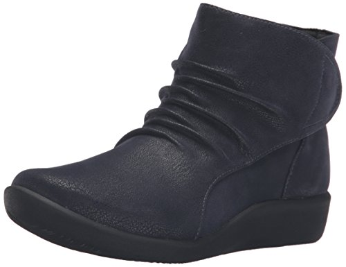 Clarks Women's Sillian Chell Boot, Navy Synthetic Nubuck, 9 M US