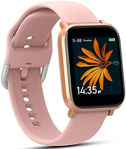 AMATAGE Smart Watch for Women, Fitness Tracker 18 Sport Modes, Oxygen Monitor, Sleep Monitor, Activity Tracker Pedometer ATM5 Waterproof Smart Reminder for iOS Android Phone (Pink)