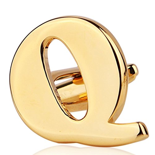 MoAndy Gold Plated Mens Wedding Shirts Initial Cufflinks (Alphabet Letter Q) ,Color Gold,2Pcs
