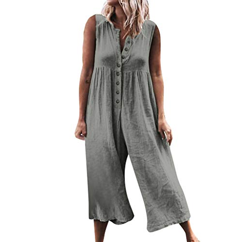 (Women Plus Size Overalls Linen Wide Leg Jumpsuits Vintage Baggy Bib Pants Casual Rompers Pleated One Piece Jumpsuit Gray)