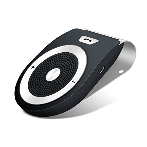 Buletooth In-Car Speakerphone, Wireless Bluetooth 4.1 Car Speaker Player Receiver Sun Visor Car Charger Speakerphone Car Stereo Hands-free Car Kit with Mic for iPhone 7/Plus Samsung Support Siri