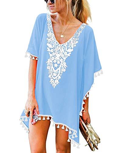 CPOKRTWSO Women's Summer V Neck Casual Mini Dress Swimwear Beach Cover Up Sky Blue 2XL