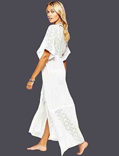 Pizzo Bagno Chiffon Costumi Donna da Mare Landove Bikini Maglia Boho Up Copricostume Da Floreale Spiaggia Estivo Abito a Kimono Cardigan Bianco per Lungo Cover fpSpwqIH