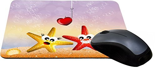 Price comparison product image Rikki Knight Red and Yellow Starfish in Love Illustration Design Lightning Series Gaming Mouse Pad (MPSQ-RK-44609)
