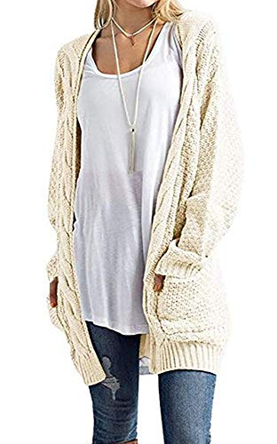 Imily Bela Women's Boho Long Sleeve Open Front Chunky Warm Cardigans Pointelle Pullover Sweater Blouses Beige ()