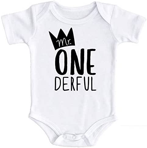 Mr One-Derful Baby Boys 1st Birthday Bodysuit First Birthday Outfit for Boys