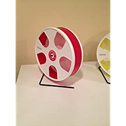 "SUGAR GLIDERS USA 11"""" WODENT EXERCISE WHEEL FOR SMALL ANIMALS RED / WHITE (TOTAL HEIGHT 12.3"")"