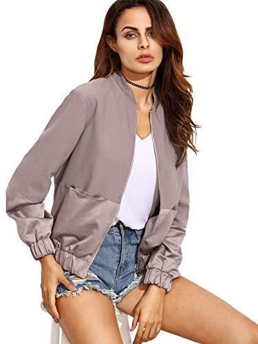 SheIn Women's Casual Plain Zip up Pocket Outwear Long Sleeve Short Bomber Jacket Large Pink by SheIn