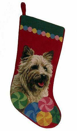 Cairn Terrier Christmas Stocking 100% Wool Hand-Stiched Needlpoint: (Terrier Needlepoint Christmas Stocking)