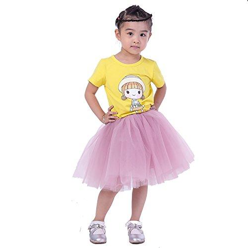 [Halloween Girls Tutu Ballet Dance Dress Up Tulle Skirt, 3-10T (dusty pink)] (Bride Running Costume)