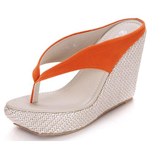 Donalworld sandalias con cuña y correa gruesa en T para mujer naranja