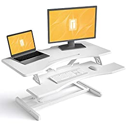 FEZIBO Height Adjustable Stand up Desk Converter – 34 inches Desk Riser, Sit Stand Desk Ergonomic Tabletop Workstation White