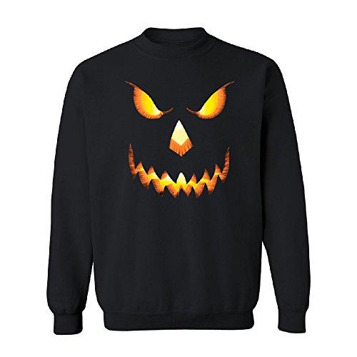PUMPKIN Jack-o'Lantern Scary Costume Unisex Crewneck Halloween Sweater Black XX-Large for $<!--$24.99-->