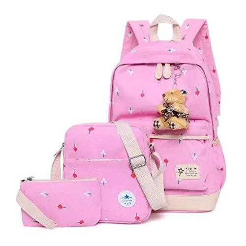 Canvas 11 for Black School Cotton Shoulder Pink Bag Backpack Kids Boys Daypack Girls Casual UqExwR1U