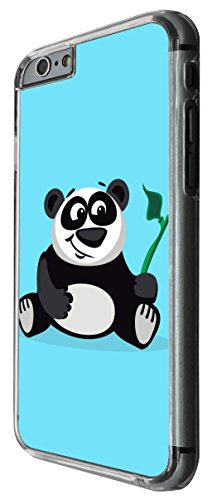 1153 - Cute Fun Panda Animal Drawing Blue Design For iphone 6 Plus / iphone 6 Plus S 5.5'' Fashion Trend CASE Back COVER Plastic&Thin Metal -Clear