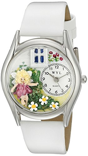 Whimsical Watches Women's S1211003 Daisy Fairy White Leather Watch