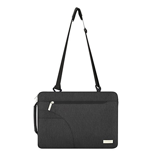 MOSISO Laptop Shoulder Bag Compatible 15-15.6 Inch MacBook Pro, Ultrabook Netbook Tablet, Polyester Ultraportable Protective Briefcase Carrying Handbag Sleeve Case Cover, Black by MOSISO (Image #6)