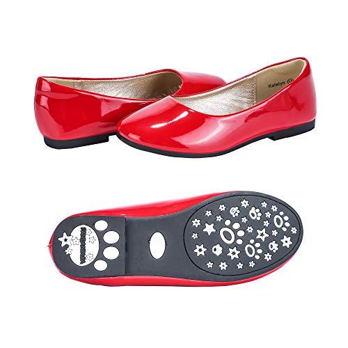 PANDANINJIA Toddler/Little Kids Katelyn Wedding Party Red Ballet Flower Mary Jane Girls Flats Dress Shoes]()
