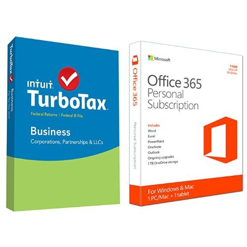 TurboTax Business 2015 Federal + Fed Efile Tax Preparation Software - PC Disc with Microsoft Office 365 Personal 1 Year | PC or Mac Key Card