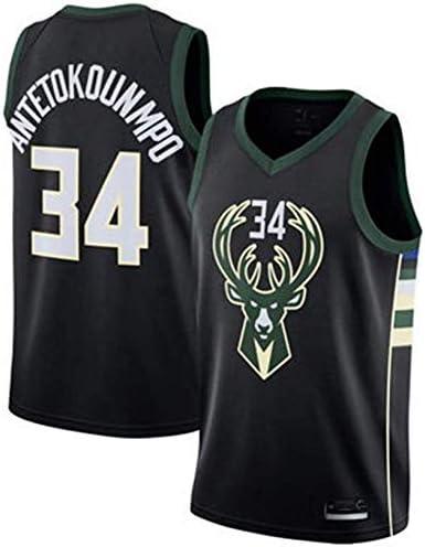Foairs Camiseta Jersey Milwaukee Bucks34Giannis Antetokounmpo Swingman Retro Camiseta de Baloncesto Deportes y Aire libreTop Deportivo Camiseta Tela Bordada Camiseta Camisetas de Tirantes s-XXL