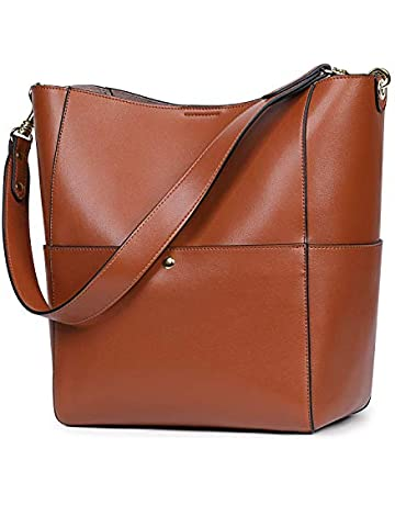 75f9ed4d155b S-ZONE Women s Fashion Vintage Leather Bucket Tote Shoulder Bag Handbag  Purse (Olive-