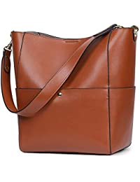 Women's Vintage Genuine Leather Bucket Tote Shoulder Bag Hobo Handbag Purse
