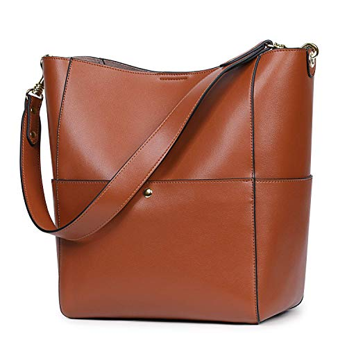 (S-ZONE Women's Vintage Genuine Leather Bucket Tote Shoulder Bag Hobo Handbag Purse (Brown-Upgraded Version))