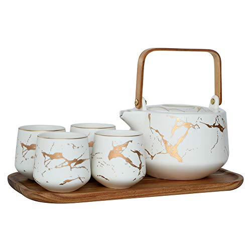 Sunddo Marble Tea Service Set Ceramic Large Tea Pot (40 OZ), 4-Piece Tea Cups (6.7 OZ) with Wooden Tray - Modern Teapot, Tea Cups Set for Home and Office (Ceramic Tea Tray)