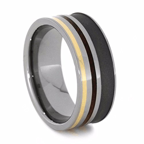 The Men's Jewelry Store (Unisex Jewelry) Whiskey Barrel Wood, 14k Yellow Gold 8mm Sandblasted Titanium Comfort-Fit Band, Size 14.25