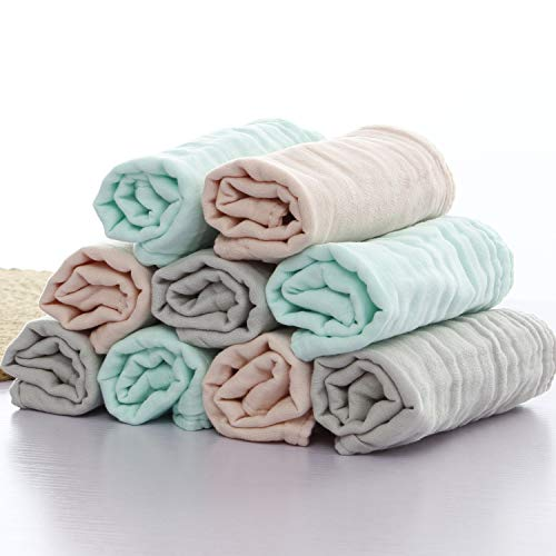 Baby Bath Washcloths by MUKIN - Muslin Face Towels for Newborn,Ultra Soft Wash Cloths for Babies | Baby Wipes for Baby Sensitive Skin | Perfect Baby Shower Gift.12X12 (Set of 9)
