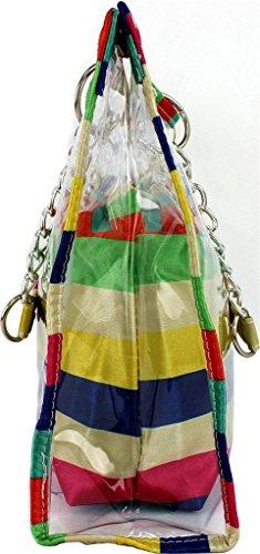 Yiuswoy Beliebte Grosse Kapazitaet PVC Strandtasche Badetasche Transparent Umhaengetasche Schultertasche Clear Handtasche Mit Innentasche Fuer Damen - Streifen