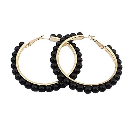 - Large Hoop Dangle Earring Black White Pearl Earring With Stainless Steel Pin Big Circle Loop Earrings For Women Girls Jewelry (black)