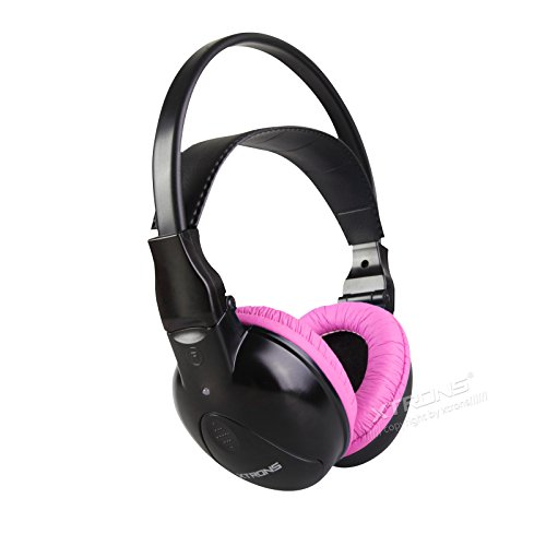 XTRONS IR Wireless Dual Channels Infrared Stereo Cordless Headphones 2 Channels for Children with Built-in IR Transmitter ()