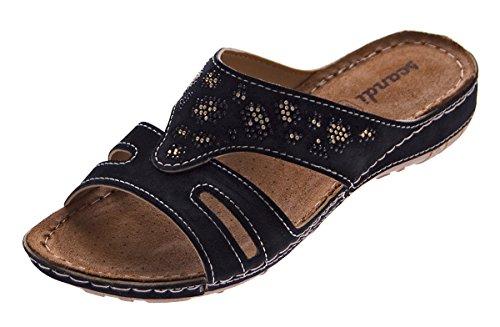 Scandi Damen Pantoletten Schuhe Clogs Leder Innensohle Latschen Schwarz Grau Sandalen Gr. 36-41 Schwarz