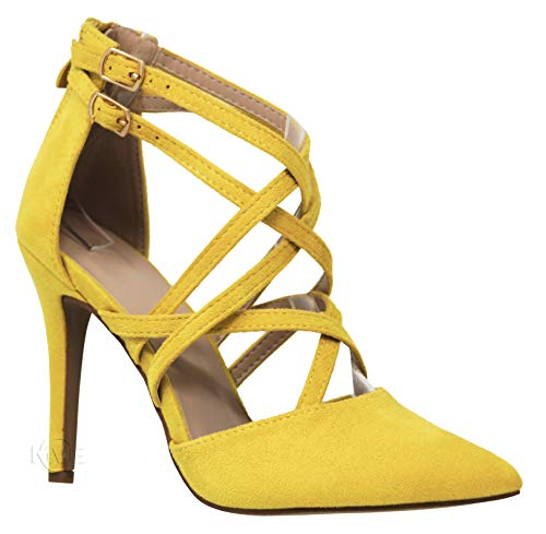 MVE Shoes Women's Pointed Criss Cross Strappy Pumps - Fashion Party High Heel Pumps, YOUNG-04 Mustard SU ()