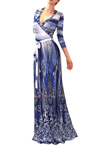 Printed Tie Dress (VIVICASTLE Women's Printed V-neck 3/4 Sleeve Wrap Waist Tie Long Maxi Dress (Small, I11,)