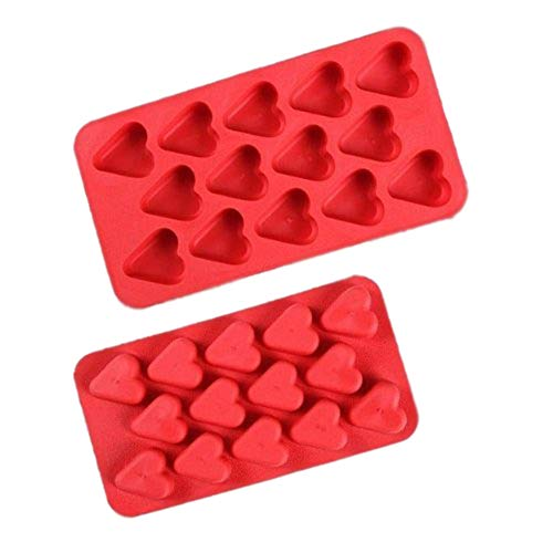 Chocolate Mold Tray Silicone Ice Cube Party maker perfect for DIY frozen ice, pudding, jelly candy (Red Heart (2 Pack)) (Heart Cube)