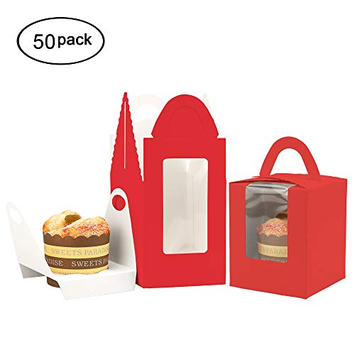 DIY Cupcake Boxes with Window Bakery Cupcake Boxes with Handle and Inserts Single Cupcake Carriers Holders for Parties pack of 50 (Red)