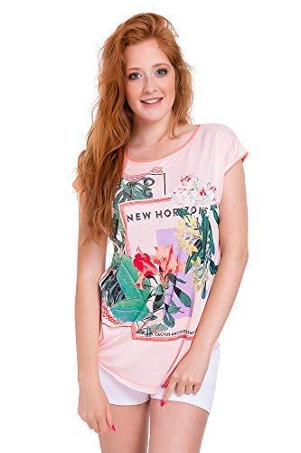 Col T Haut Shirt Femmes FB319 Femmes Fleurs FASHION Ample FUTURO Manches Courtes Chemisier Coupe Bateau Saumon Nouveau EwqFUBgn
