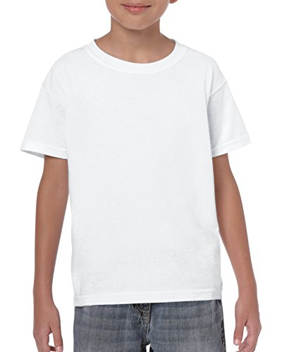 Gildan Kids' Little Heavy Cotton Youth T-Shirt, White, Small