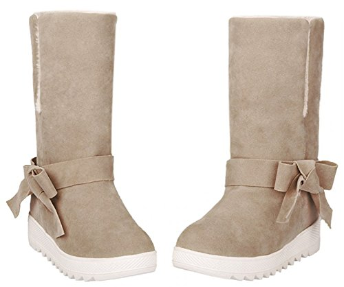 IDIFU Womens Sweet Folded Mid Heels Wedge Heighten Faux Fur Lined Snow Booties With Bow Camel t9ERYOHceX