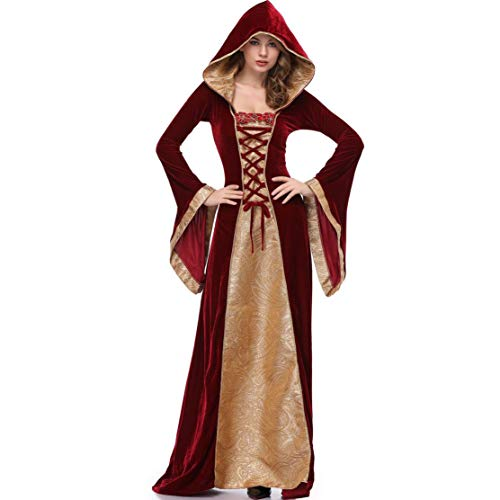 Halloween Cosplay Idea (Goddessvan 2019 Women's Gothic Poplin Long Sleeve Hooded Witch Dress Cosplay Halloween Clothes Festival)