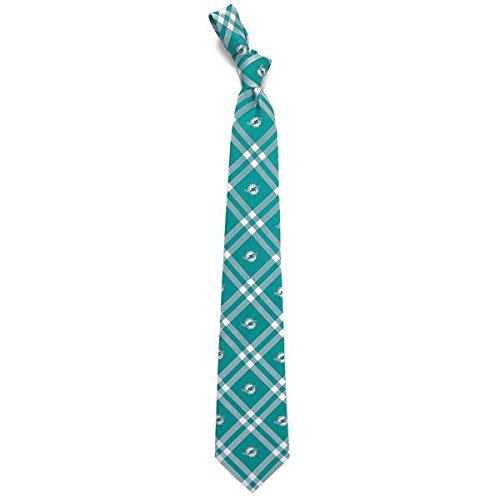 Eagles Wings NFL Miami Dolphins Men's Woven Polyester Rhodes Necktie, One Size, Multicolor