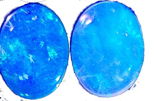 Stunning 7x5mm Blue-Green Fire Natural Australian Solid Crystal Opal Oval cabochon Pair 0.8ct