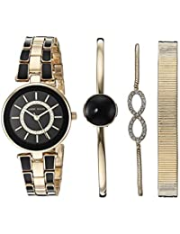Women's AK/3286BKST Swarovski Crystal Accented Gold-Tone and Black Watch and Bracelet Set