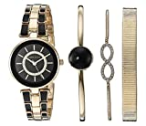 Anne Klein Women's AK/3286BKST Swarovski Crystal Accented Gold-Tone and Black Watch and Bracelet